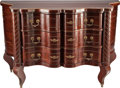 Furniture , A BALTIC MAHOGANY, GILT BRONZE AND BRASS SERPENTINE THREE-DRAWER COMMODE, 19th century. 37-1/4 x 56-7/8 x 26 inches (94.6 x ...