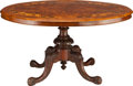 Furniture , A VICTORIAN BURL WALNUT AND MARQUETRY TILT-TOP BREAKFAST TABLE, circa 1860. 28 x 51-1/2 x 40-1/4 inches (71.1 x 130.8 x 102....