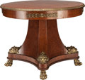 Furniture , AN EMPIRE-STYLE MAHOGANY MARQUETRY AND GILT BRONZE CENTER TABLE, 20th century. 32 inches high x 40-3/4 inches diameter (81.3...