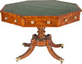 Furniture , A REGENCY MAHOGANY OCTAGONAL DRUM TABLE WITH INSET LEATHER TOP, circa 1815. 29-1/2 x 44-1/2 x 44-1/2 inches (74.9 x 113.0 x ...