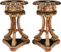 Decorative Arts, French, A PAIR OF NEOCLASSICAL-STYLE FAUX TORTOISESHELL WITH EBONIZED ANDPARCEL GILTWOOD STANDING JARDINIÈRES, 20th century. 41... (Total: 2Items)