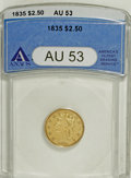 Classic Quarter Eagles, 1835 $2 1/2 AU53 ANACS....