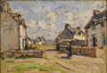 Paintings, ANDRÉ PRÉVOT-VALERI (French 1890-1930). Village Square. Oil on masonite. 11 x 15-1/4 inches (27.9 x 38.7 cm). Signed at ...