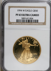 1994-W G$50 One-Ounce Gold Eagle PR63 Ultra Cameo NGC. NGC Census: (1/1380). PCGS Population (0/1163). Numismedia Wsl. P...