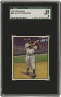 Baseball Cards:Singles (1950-1959), 1950 Bowman Jackie Robinson #22 SGC 88 NM/MT 8. Arguably one of the finest portraits of this true baseball hero can be foun...