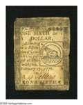 Colonial Notes:Continental Congress Issues, Continental Currency February 17, 1776 $1/6 Very Fine. Staining isfound around the periphery of this one fold note....