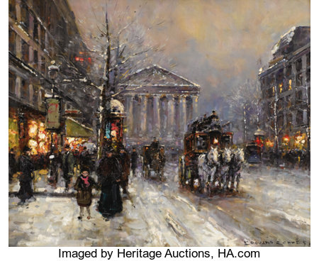 EDOUARD LEON CORTES (French 1882-1969) Rue Royal, Paris Oil on canvas 18 x 22 inches (45.7 x 55.9 cm) Signed lower r...
