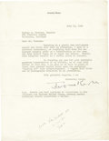 """Autographs:Celebrities, Composer Jerome Kern Typed Letter Signed """"Jerome Kern"""". One page, 8.5"""" x 11"""", on his personal letterhead, July 11, 1942,... (Total: 1 Item)"""