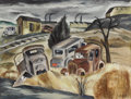 Texas:Early Texas Art - Regionalists, KELLY FEARING (b. 1918). Graveyard, 1941. Gouache on paper.16 x 21 inches (40.6 x 53.3 cm). Signed and dated lower righ...