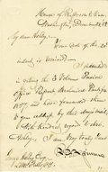 """Autographs:Statesmen, Francis Elias Spinner Autograph Letter Signed As Congressman """"F.E. Spinner"""". One page, 4.5"""" x 7"""", Washington, December ...(Total: 1 Item)"""