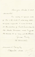 """Autographs:Statesmen, Vice President Hannibal Hamlin Autograph Letter Signed """"HHamlin"""". One page, 5"""" x 8"""", Bangor, April 15, 1885, in ink,to... (Total: 1 Item)"""