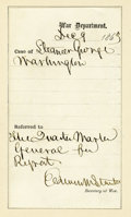 "Autographs:Statesmen, Secretary of War Edwin Stanton Autograph Document Signed ""Edwin M. Stanton"". One page, tipped at the left margin to an o... (Total: 1 Item)"