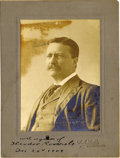 "Autographs:U.S. Presidents, Theodore Roosevelt Photograph Signed as President. A formal sepia toned portrait, 4"" x 5.5"", bearing photographer's imprint ... (Total: 1 Item)"