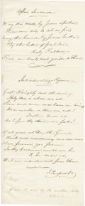 "Autographs:Artists, Hymn Composer John Pierpont Autograph Document Signed, ""J.Pierpont"", one page, 4.75"" x 11.75"", n.p., n.d. Below two ma...(Total: 1 Item)"