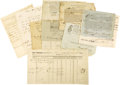 """Miscellaneous:Ephemera, Group of Ten Early American Maritime Documents, as follows: .Partly-printed DS, """"Sam Hopkins"""", one page withmanuscript... (Total: 10 Items)"""
