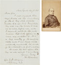 Autographs:Statesmen, Vice President Hannibal Hamlin Autograph Letter Signed and Cartede Visite....