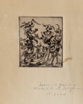 Fine Art - Painting, Russian, KURT SELIGMANN (Swiss, 1900-1962). Untitled, 1947. Etching.2-1/2 x 3 inches (6.4 x 7.6 cm) (plate). Inscribed lower rig...