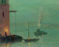 JOHANN BERTHELSEN (1883-1972) Boats in the East River Oil on canvas 16 x 20 inches (40.6 x 50.8 c