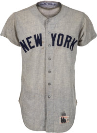 1966 Mickey Mantle Game Worn New York Yankees Jersey, MEARS A9.5
