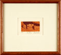 Books:Prints & Leaves, Brent Thomson. SIGNED. Small Framed Color Engraving Entitled,Dwellings. Undated. ...
