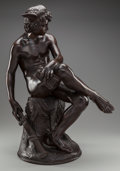 Sculpture, After PIERRE MARIUS MONTAGNE (French, 1828-1879). Mercury, 1867. Bronze with brown patina. 30-1/2 inches (77.5 cm) high ... (Total: 2 Items)