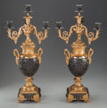 Decorative Arts, French, A PAIR OF EMPIRE-STYLE GILT AND PATINATED BRONZE FOUR-LIGHTCANDELABRA, circa 1900. 29-3/4 inches high (75.6 cm). ... (Total: 2Items)