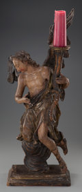 Decorative Arts, Continental, AN ITALIAN CARVED WOOD ECCLESIASTIC FIGURAL PRICKET AFTER JOSEPHANTON FEUCHTMAYER: ANGEL, late 18th century. 33-1/2...