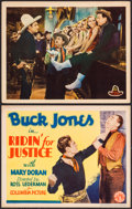 """Movie Posters:Western, Ridin' for Justice (Columbia, 1932). Title Lobby Card & Lobby Card (11"""" X 14""""). Western.. ... (Total: 2 Items)"""