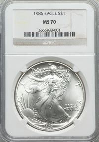 1986 $1 Silver Eagle MS70 NGC. NGC Census: (1352). PCGS Population (4). Numismedia Wsl. Price for problem free NGC/PCGS...