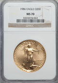 Modern Bullion Coins: , 1986 G$50 One-Ounce Gold Eagle MS70 NGC. NGC Census: (435). PCGS Population (26). Numismedia Wsl. Price for problem free N...
