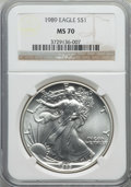 Modern Bullion Coins: , 1989 $1 Silver Eagle MS70 NGC. NGC Census: (379). PCGS Population (0). Numismedia Wsl. Price for problem free NGC/PCGS coi...