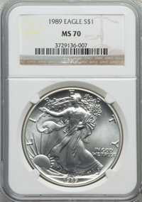 1989 $1 Silver Eagle MS70 NGC. NGC Census: (379). PCGS Population (0). Numismedia Wsl. Price for problem free NGC/PCGS c...