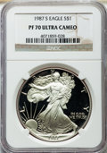 Modern Bullion Coins, 1987-S $1 Silver Eagle PR70 Ultra Cameo NGC. NGC Census: (0). PCGS Population (0)....