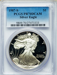 1987-S $1 Silver Eagle PR70 DeepCameo PCGS. PCGS Population (0). NGC Census: (0). From The Steitz Collection....(PCGS# 8...