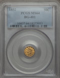 California Fractional Gold: , 1852 50C Liberty Round 50 Cents, BG-401, R.3, MS64 PCGS. PCGSPopulation (10/3). NGC Census: (4/1). ...