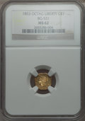 California Fractional Gold: , 1853 $1 Liberty Octagonal 1 Dollar, BG-531, R.4, MS62 NGC. NGCCensus: (2/2). PCGS Population (19/5). ...