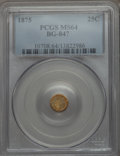 California Fractional Gold: , 1875 25C Indian Round 25 Cents, BG-847, R.4, MS64 PCGS. PCGSPopulation (28/2). NGC Census: (6/1). ...
