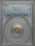California Fractional Gold : , 1881 25C Indian Round 25 Cents, BG-887, R.3, MS65 PCGS. PCGSPopulation (31/8). NGC Census: (4/1). ...