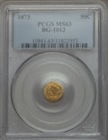 California Fractional Gold: , 1873 50C Liberty Round 50 Cents, BG-1012, High R.5, MS63 PCGS. PCGSPopulation (5/11). NGC Census: (1/2). ...
