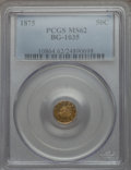 California Fractional Gold: , 1875 50C Liberty Round 50 Cents, BG-1035, High R.5, MS62 PCGS. PCGSPopulation (4/10). NGC Census: (2/0). ...