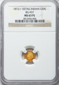 California Fractional Gold: , 1872/1 50C Indian Octagonal 50 Cents, BG-937, High R.4, MS63Prooflike NGC. NGC Census: (6/8). ...