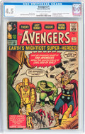 Silver Age (1956-1969):Superhero, The Avengers #1 (Marvel, 1963) CGC VG+ 4.5 Cream to off-whitepages....
