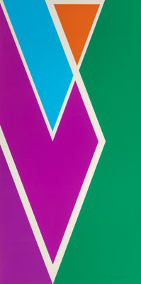 LARRY ZOX (American, 1936-2006) Westbury, 1970 Silkscreen in colors 82-3/4 x 41 inches (210.2 x 1