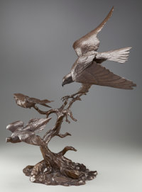 CLARK EVERICE BRONSON (American, 1939) Narrow Escape, 1976 Bronze with brown patina 33-1/2 inches