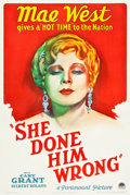"Movie Posters:Comedy, She Done Him Wrong (Paramount, 1933). One Sheet (27.25"" X 41"")....."