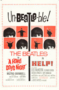 "Movie Posters:Rock and Roll, Beatles Combo Help! & A Hard Day's Night (United Artists,R-1965). One Sheet (27"" X 41"").. ..."