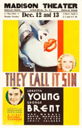 "Movie Posters:Romance, They Call It Sin (Warner Brothers, 1932). Window Card (14"" X 22"")....."