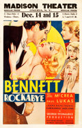 "Movie Posters:Drama, Rockabye (RKO, 1932). Window Card (14"" X 22"").. ..."