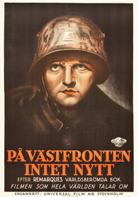 """All Quiet on the Western Front (Universal, 1930). Swedish One Sheet (27"""" X 39"""")"""