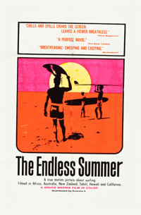 "The Endless Summer (Cinema 5, 1966). Day-Glo Silk Screen One Sheet (27"" X 41"")"